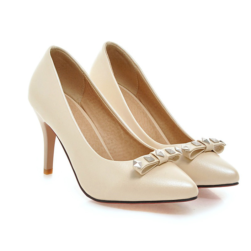 ФОТО Japanese sweet princess style pointed toe pumps rivet bowknot slip-on beige purple blue red black pink high-heeled women's shoes