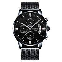 NIBOSI Relogio Masculino Для мужчин часы 2018 Элитный бренд Нержавеющаясталь Для мужчин Кварцевые наручные часы Повседневное Водонепроницаемый сетка