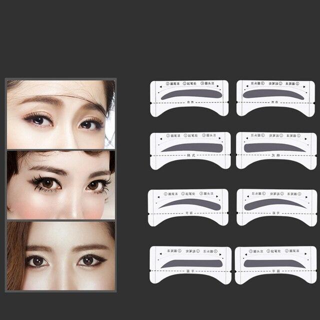 8Pair Eyebrow Stencil Eyes Brow Stencil Set Eyebrow Shaper DIY Drawing Grooming Professional Eyebrow Template Sticker Makeup 2