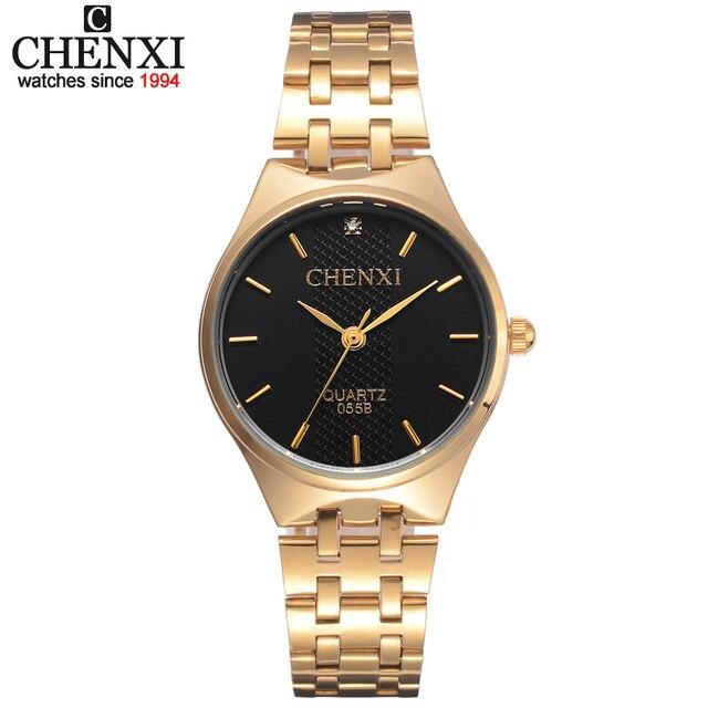CHENXI Top Fashion Brand Luxury Watch Womens Golden Watches Waterproof Casual Qu