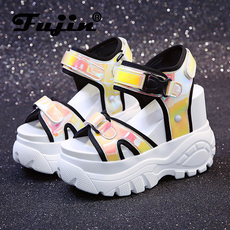 Fujin Sandals Female Beach-Shoes Summer Thick-Soled Fashion Students Wild Casual Muffin-Bottom