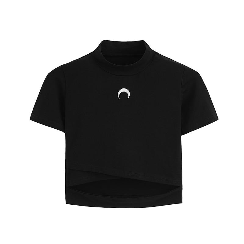 Camiseta de la luna de la bruja camiseta de las mujeres camiseta de la luna del frío para la muchacha gótica Pastel Goth ropa estética de algodón Camiseta corta Hipster