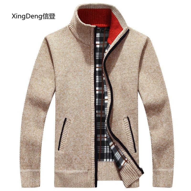 XingDeng chàng trai áo len cổ áo người đàn ông cardigan đứng cổ áo khoác ấm áp thời trang Nam đan áo len giản dị quần áo hàng đầu cộng với kích thước 3XL