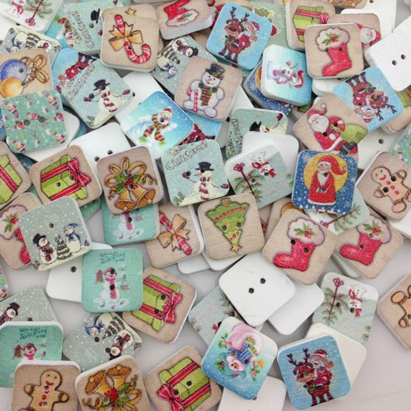 80 pcs  Christmas Wood Buttons Star DIY Craft Scrapbook Sewing WB04