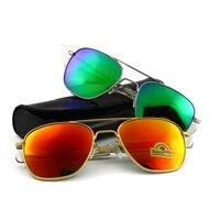 Fashion Colour AO Sunglasses Men Women Army Military Aviation Pilot Sun Glasses Male Brand Designer Glass Lens Original box