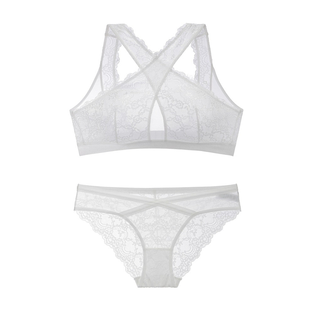 1e188489c2 Sexy Ultra Thin Transparent Sheer Lace Bra Set Front Cross Straps Full Cup  Wireless Underwear Women