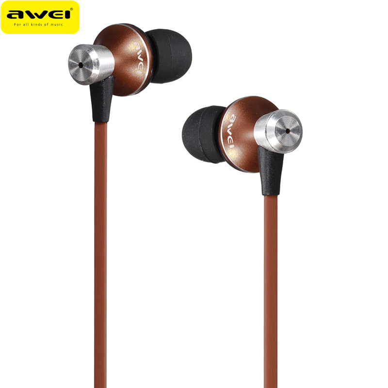 New Awei TE-850vi In-Ear Earphone With Mic Clear Bass Sound Earphone 3.5mm For Phone For Xiaomi For HTC Phones Earbuds 6 Colors original awei q9 bass earbuds 3 5mm in ear wooden earphone for iphone xiaomi samaung