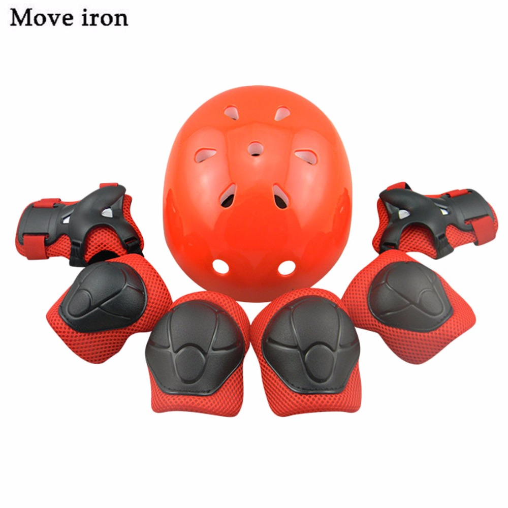 7Pcs/Set Elbow Wrist Knee Pads Bicycle Helmet for Kids ...