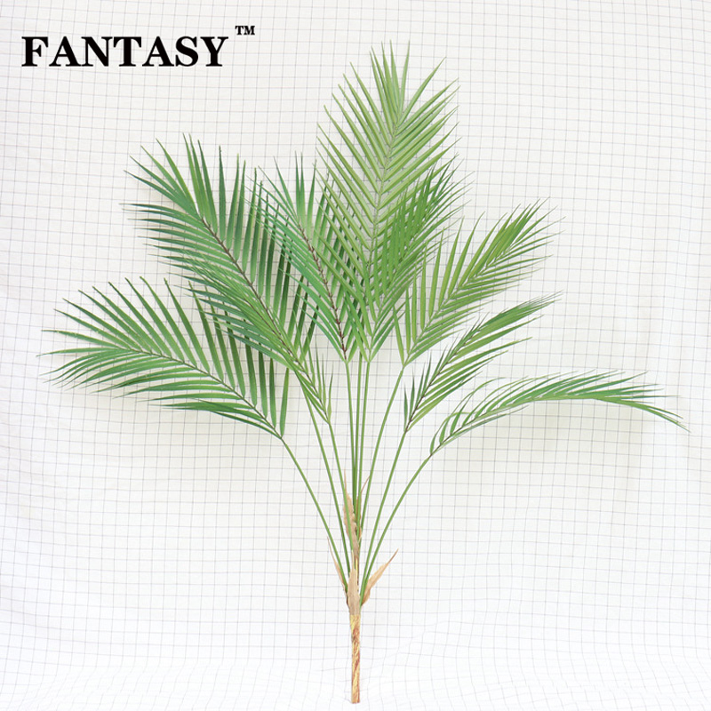 88cm 9 Fork Tropical Fake Palm Tree Bouquet Artificial Leaves Branch Large Green False Plant Plastic Leaf For Hawaii Party Decor