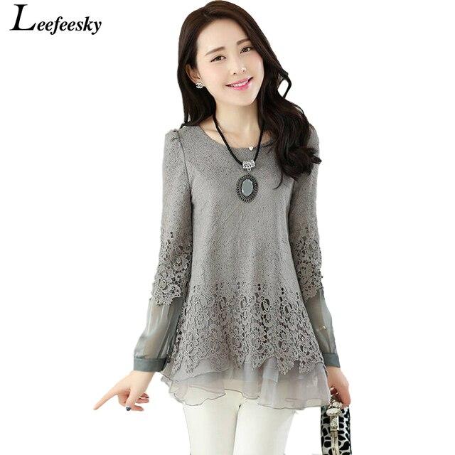 2016 spring auturn fashion women's blouses vintage crochet lace ruffle blouse long sleeve ladies tops black white shirt female