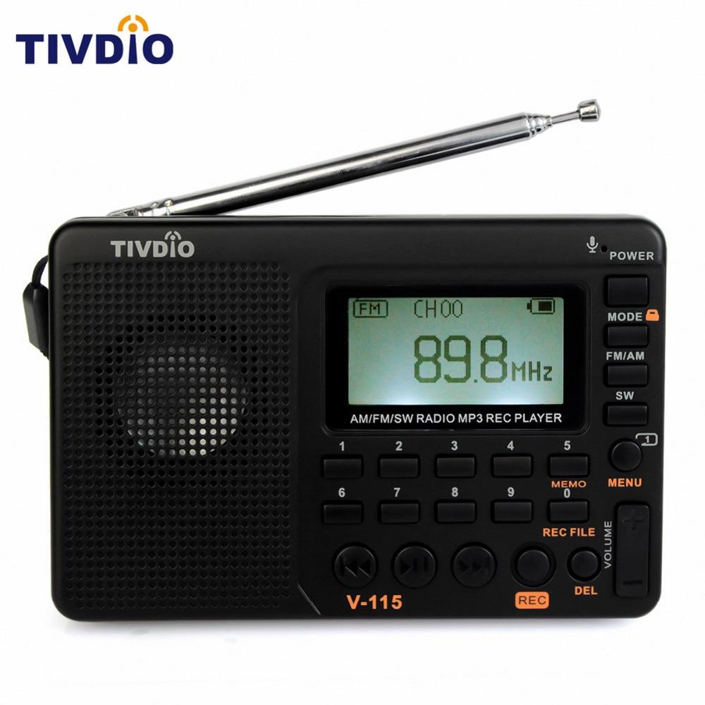 TIVDIO V-115 Radio FM/AM/SW Kurzwellenradio Mp3-player REC Recorder Mit Sleep Timer Schwarz FM Radio Recorder F9205A