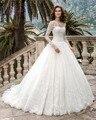 Dreagel Romantic O-neck Long Sleeves Ball Gown Princess Wedding Dress 2017 Glamorous Lace Appliques Bride Dress Vestido de Noiva