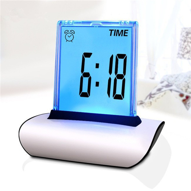 7Colors Changing Digital Table Clocks LCD Screen Alarm Clock Multi-Functional Large Display Desk Clock with Thermometer Calendar