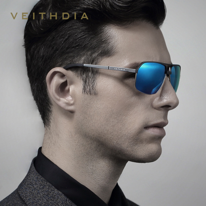 VEITHDIA Brand Designer UV400 Polarized Sunglasses Men Al-Mg  Eyewear Sun Glasses Male gafas oculos de sol masculino 6521