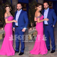 Elegant Pink Satin Evening Dress Long 2019 Beaded Crystal Mermaid Formal Party Dresses Gown Vestido De Festa Abendkleider Abiye