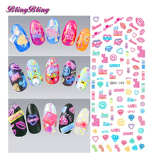 2 sheet Nail Art Sticker Decals DIY Water Transfer Foil Pink Love KISS Letters Design Kids Nail Wraps Manicura Decal