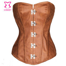 Corzzet Black Brocade Leather Steel Boned Steampunk Corselet Waist Trainer Lingerie Slimming Party Corsets And Bustiers