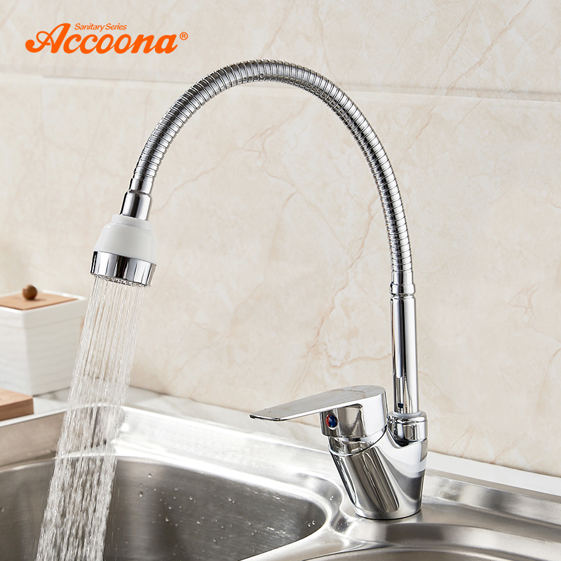 Accoona New Kitchen Faucet Chrome Plated Mixer Cold And Hot Kitchen Tap Single Hole Water Tap Zinc Alloy Torneira Cozinha A4865