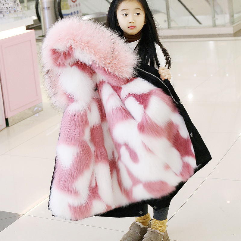 Childrens party to overcome men and women 2019 winter new imitation fox fur liner detachable thickening down cotton long sectioChildrens party to overcome men and women 2019 winter new imitation fox fur liner detachable thickening down cotton long sectio