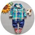 2016 Bebê Recém-nascido Conjunto de Roupas Infantis Da Moda Roupas Formais Ternos Do Bebê Menino Xadrez Treino Marca Bebê Menino Roupas Primavera Casacos