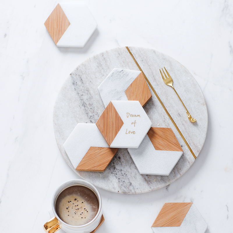 Pad Set Marbling Bamboo Geometric Hexagon Table Mat