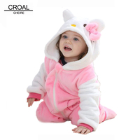 Kawaii Hello Kitty Panda Baby Girls Clothes Animal Baby Rompers Costume Winter Fleece Clothes For Boys