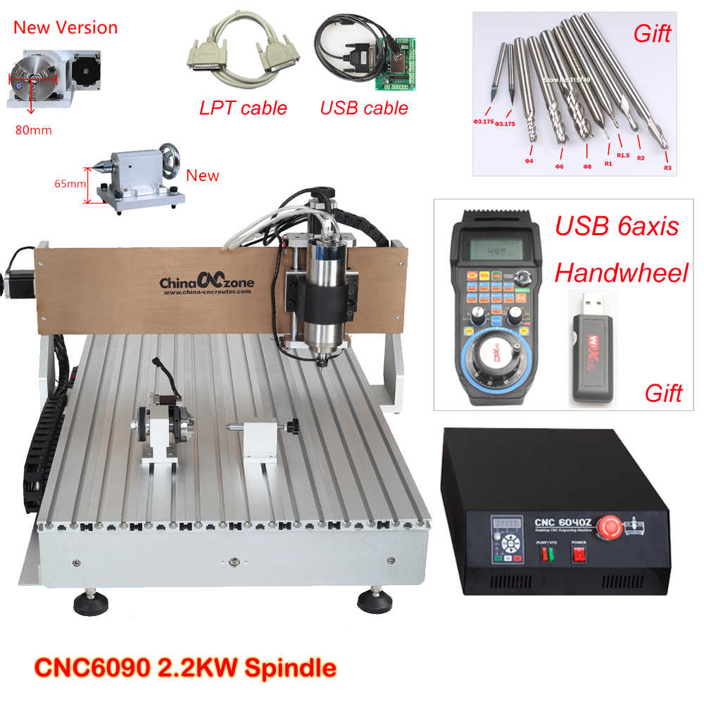 Mini CNC Router 6090 Engraving Machine 4axis 2 2KW Spindle Metal Glass Wood  CNC Milling Machine LPT port for Mach3 software