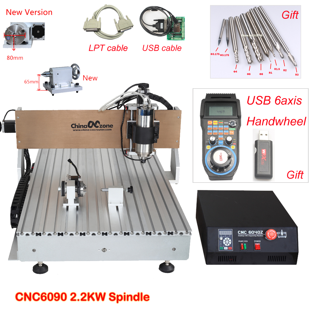 Mini CNC Router 6090 Engraving Machine 4axis 2.2KW Spindle Metal Glass Wood CNC Milling Machine LPT port for Mach3 software
