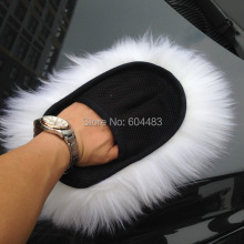 Sheepskin Plush Car Wash Mitt Glove Polishing Waxing White