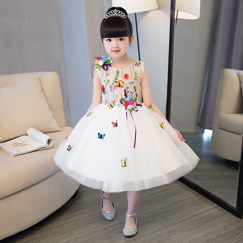 Luxury Princess Lace Pierced Embroidery Appliques ALine Kids Dress For Girls Sweet Flower Girls Dress For Wedding Prom Party P72 girls embroidery detail contrast lace hem dress