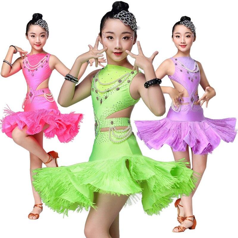 2018 high quality latin dance dress for girls kids ballroom latin dance competition dresses latin dance costume for girls