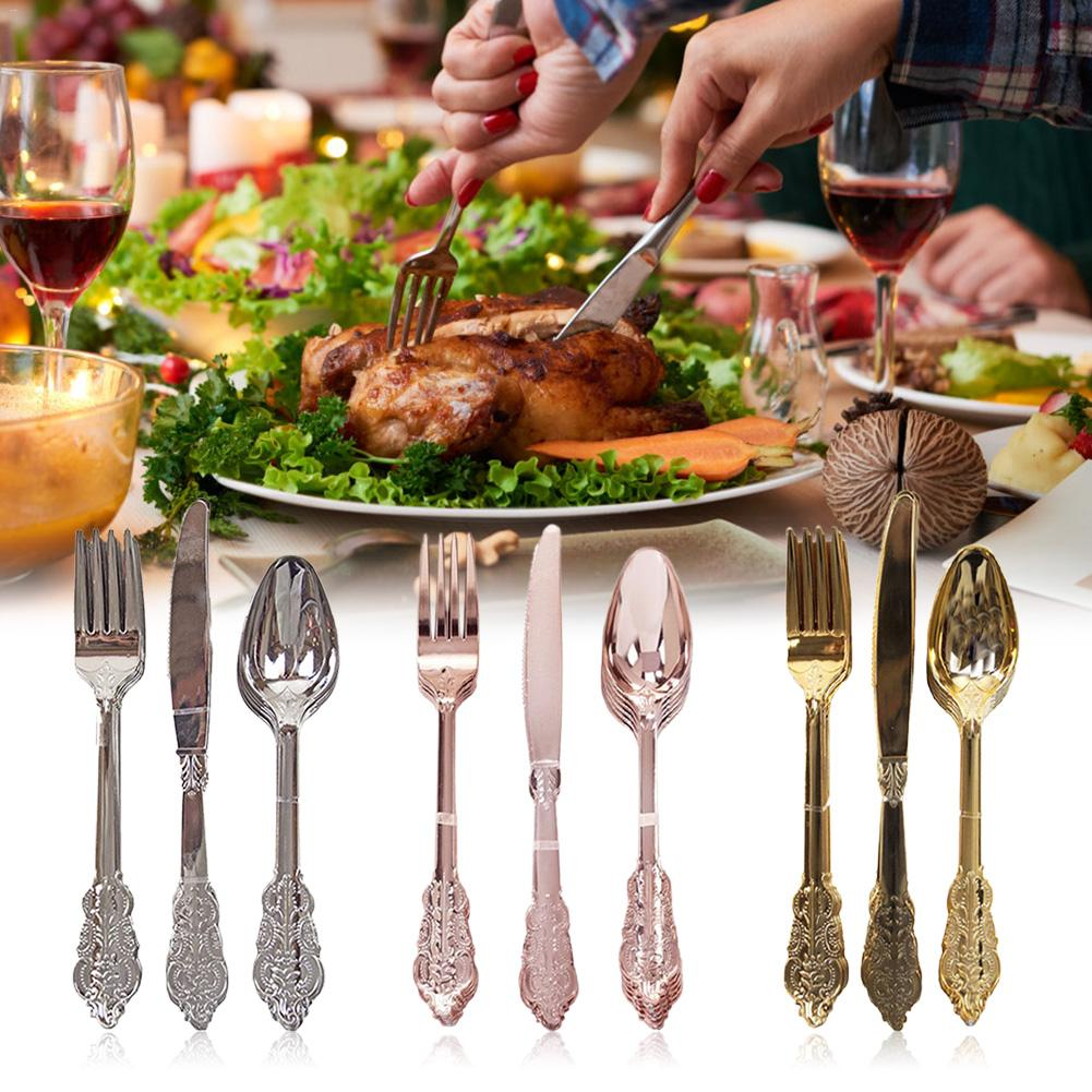 12PCS Disposable Imitation Metal Plastic Gold Silver Carved Embossed Cutlery Western Wedding Party Tableware Set