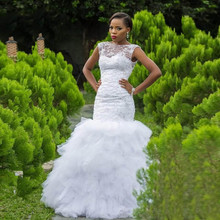 WONDMOND South Africa Ruffles Mermaid Wedding Dress Beading