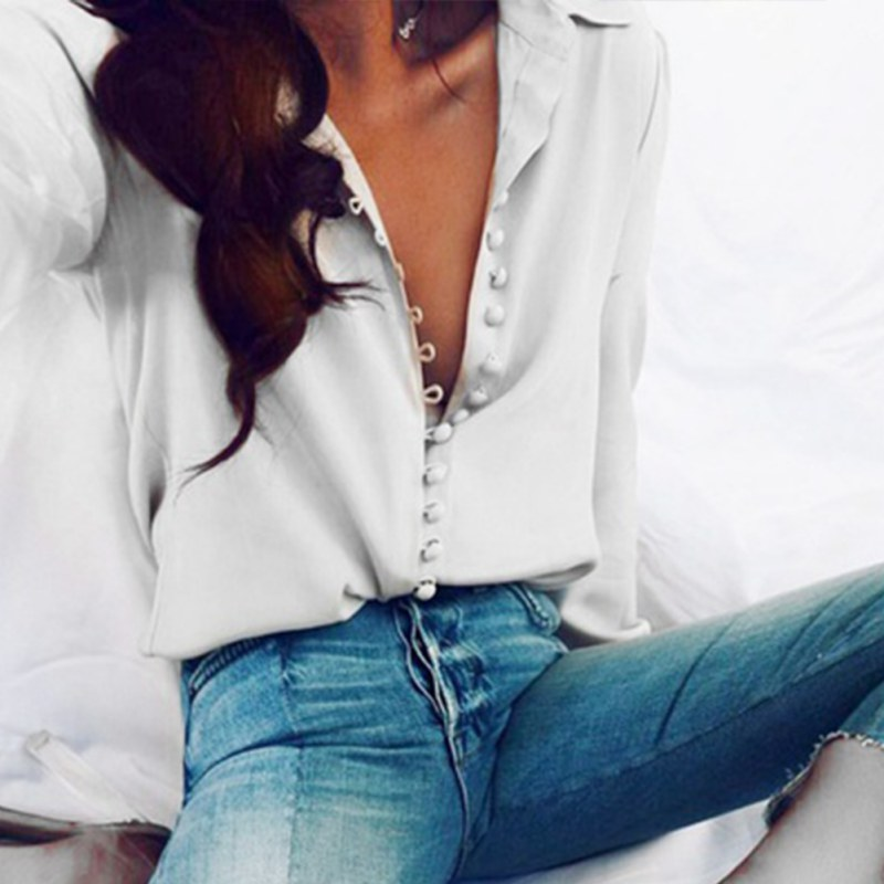0978922f7d4602 Fashion Long Sleeve Woman Blouse White Shirt Ladies Pearl Button Shirt  Women Casual Tops Big Size Elegant Female White Blouse-in Blouses & Shirts  from ...
