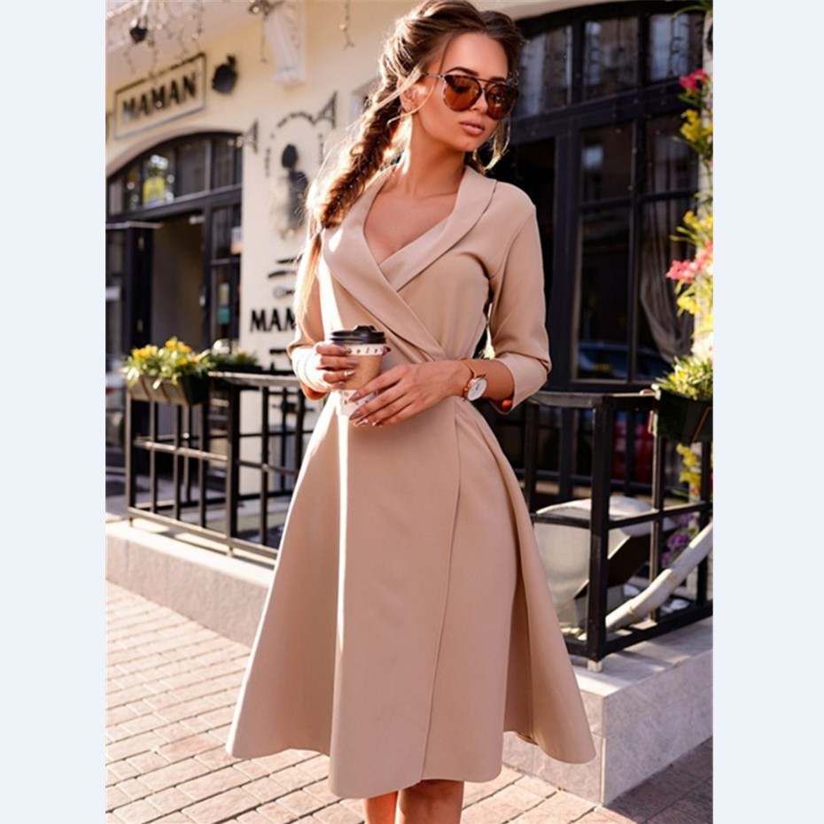 Fashion Vintage Women A-line Office Dress Vestidos Female Pure Color Sexy V-neck Full Sleeve Party Dress YN3039