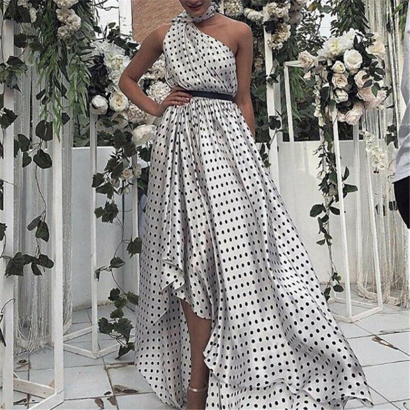 Sexy Elegant Off Shoulder Women Maxi Long Dress Sleeveless Polka Dot Irregularity Female Dress 2019 Summer Ladies Vestidos