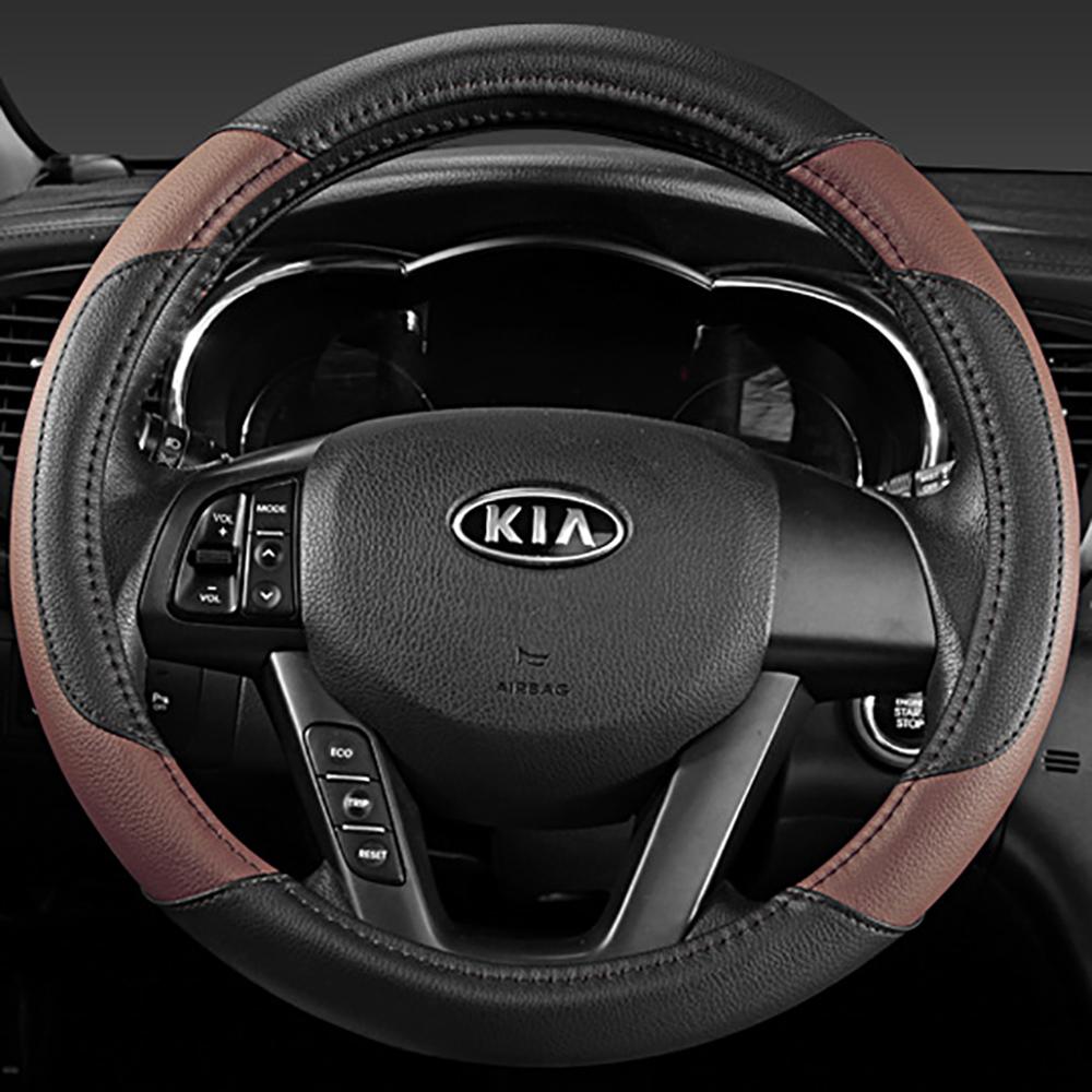 Prix pour Car Styling de haute qualité PU volant en cuir housse de Protection 38 CM / 15 '' Universal Anti - slip quatre saisons générale pour KIA