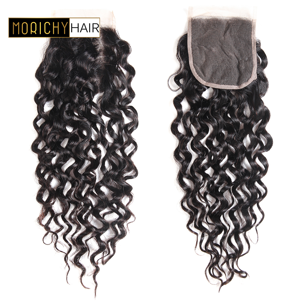Morichy Water Wave Closure 100% Human Hair Lace Closure Brazilian Hair Wet and Wavy Free Part 8-20 Remy Hair Free Shipping