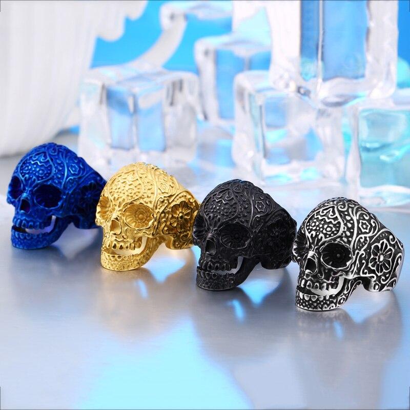 Ring Men 2018 New Arrivals Classic Garden Flower Casting Skull Ring For Men Titanium Steel Punk Style Mens Jewelry BR8-071