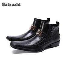 Batzuzhi Western Boots Men Luxury Men Leather Ankle Boots Zip Motorcycle Boots Men Zapatos Hombre Comfortable Dress Boots Men zyyzym men boots leather plus size knight boots man lace up men ankle boots brithsh motorcycle boots for men zapatos de hombre