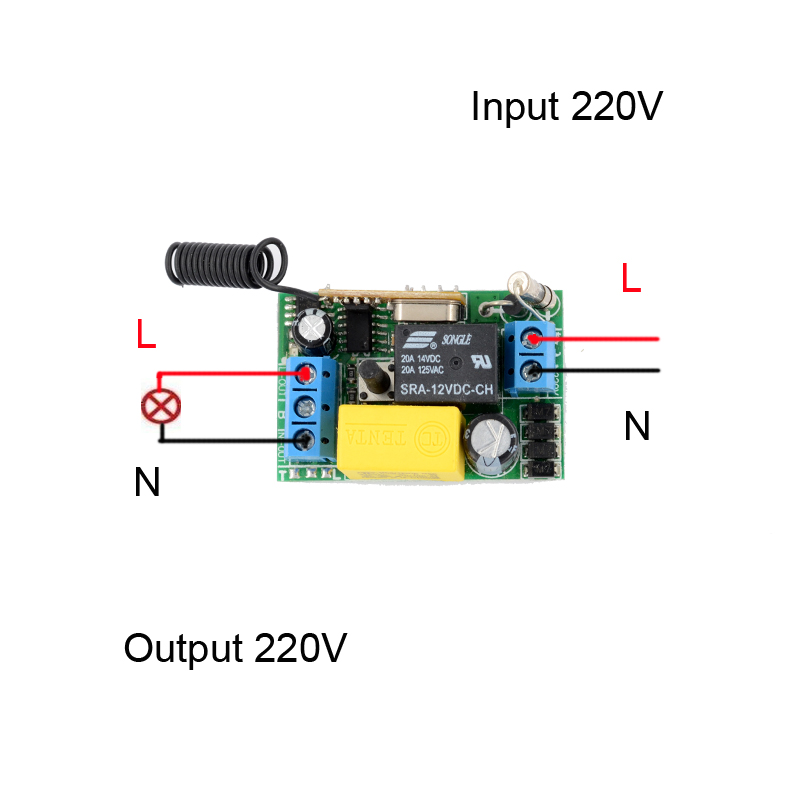 ac 220v 1 ch mini remote control switch 10a relay small receiverac 220v 1 ch mini remote control switch 10a relay small receiver light lamp led bulb wireless remote lighting switch 315 433 92 in switches from lights