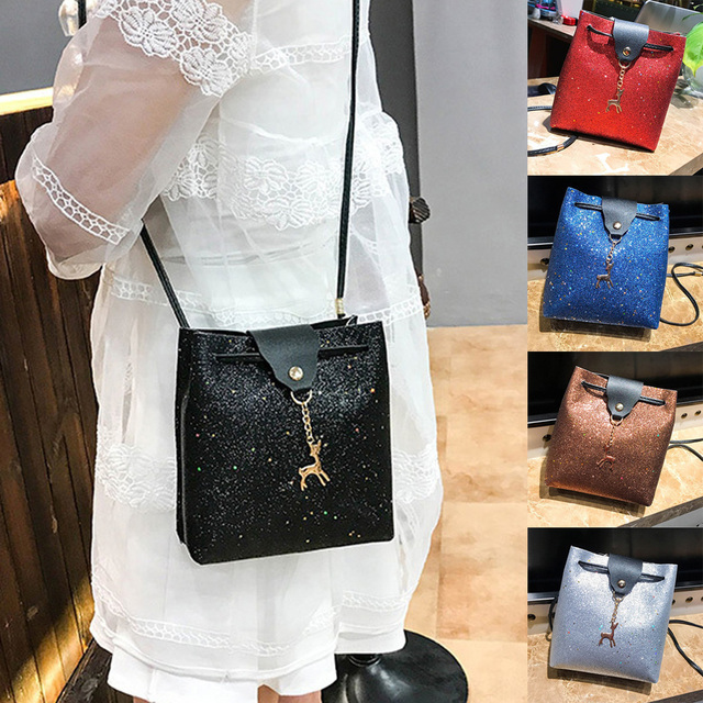 2018 Trendy Glitter Women Messenger Shoulder Bag Shining Leather Party Day Clutches  Purses Handbags Deer Crossbody 34f67df87fbe