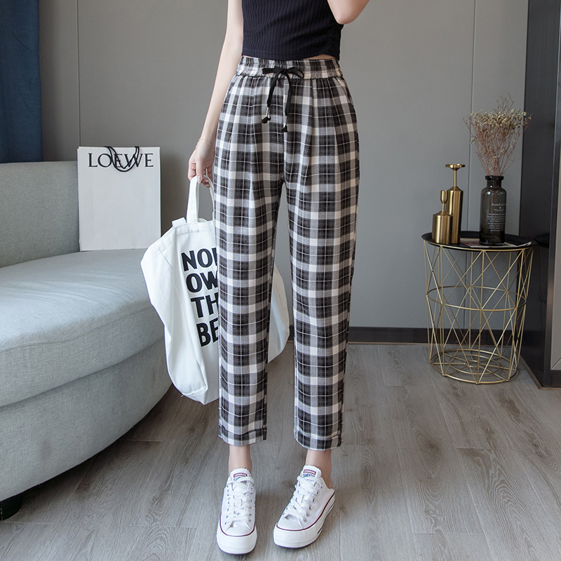 2019 Autumn New Women Harem Pants Korean Fashion Casual Loose Large Size Was Thin Lattice Female Trousers  Ankle-Length Pants