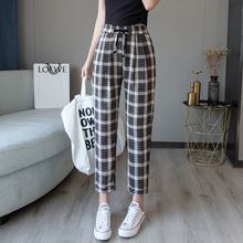 2019 Autumn New Women Harem Pants Korean Fashion Casual Loose Large Size Was Thin Lattice Female Trousers  Ankle-Length