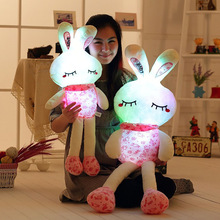 Creative Light Up LED Rabbit Stuffed Animals Plush Toy Colorful Glowing Bunny Christmas Gift for Kids