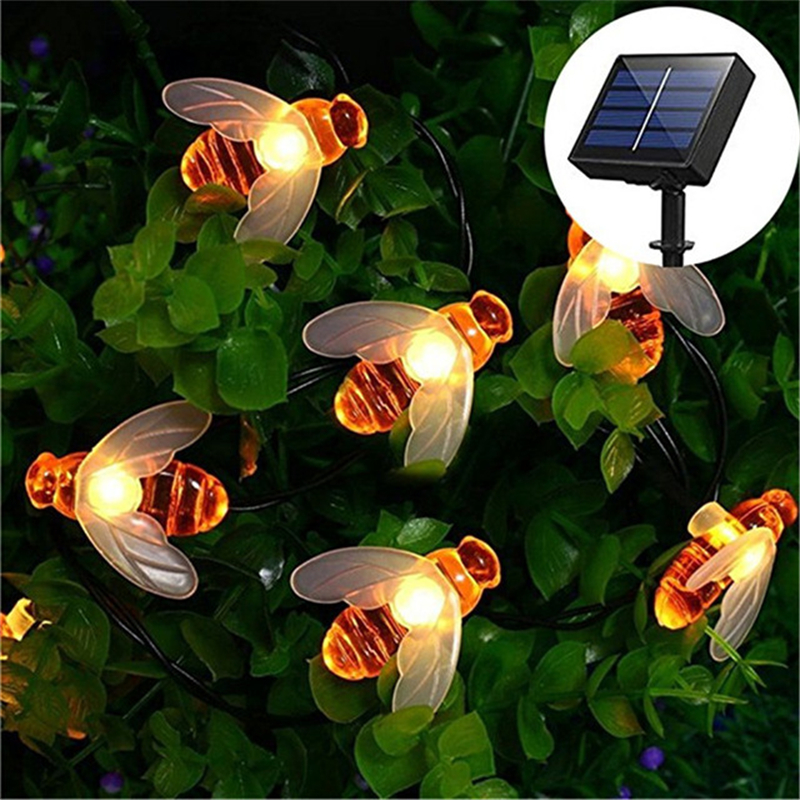 Bee String Lights 50 Led Outdoor Solar Power LEDs Strings Waterproof Garden Patio Fence Gazebo Summer Night Light Decorations
