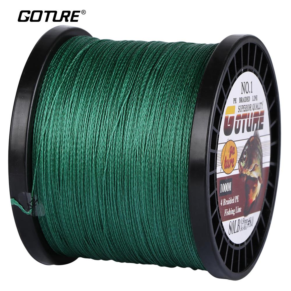 Goture 1000M PE Braided Fishing Line Super Strong Japan Multifilament Cord Rope 4 Stands 12-80LB For Carp Fishing