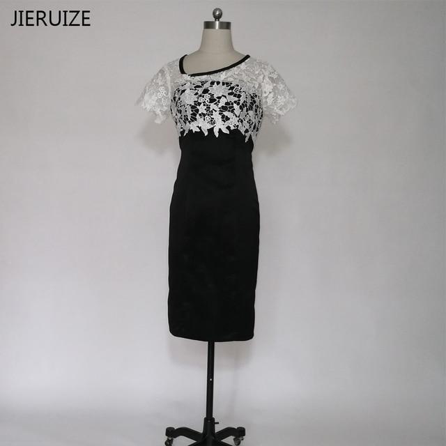 985c29ac3b JIERUZIE White Lace I Czarny Kolano długość matka panny Młodej Suknie  Krótkie Rękawy Krótkie Suknie Wieczorowe