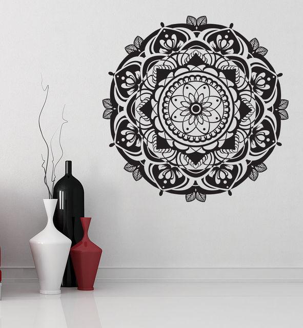 Removable Wallpaper Mandala Wall Vinyl Decal Namaste Decals Boho Eastern Ornament Decor Home Living Room Bedroom