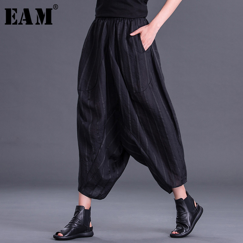 [EAM] 2019 New Spring Summer High Elastic Waist Black Striped Split Joint Loose   Wide     Leg     Pants   Women Trousers Fashion Tide JT908